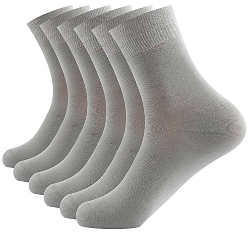 Areke Mens Bamboo Knit Crew Casual Socks,Thin Lightweight Wick Dry Mid Calf Athletic Sox Color Light Grey 6Pack Size A