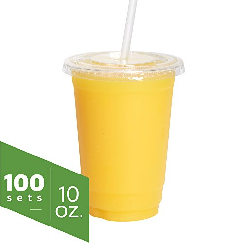 10 oz. Clear Plastic Cups with Flat Lids [100 Sets], Smoothie, Milkshake, Ice Coffee Cups
