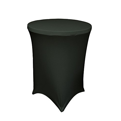 Lowpricenice 36 Inch Linen Spandex Fitted Stretchable Round Tablecloth for Cocktail Table, 36 By 42 Inch, Black