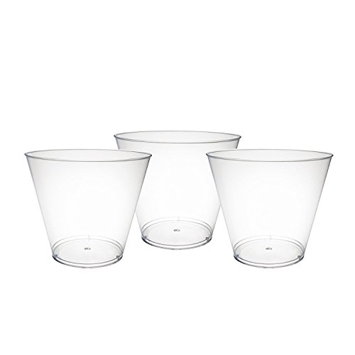 Party Essentials Hard Plastic 9-Ounce Party Cups/Old Fashioned Tumblers, 100 Count, Clear
