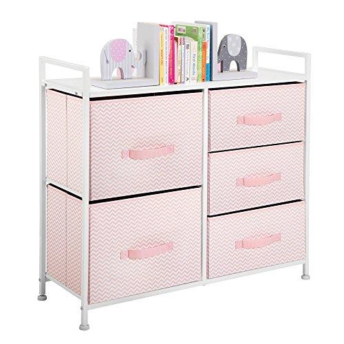 mDesign Fabric 5-Drawer Dresser and Storage Organizer Unit for Bedroom, Dorm Room - Pink/White