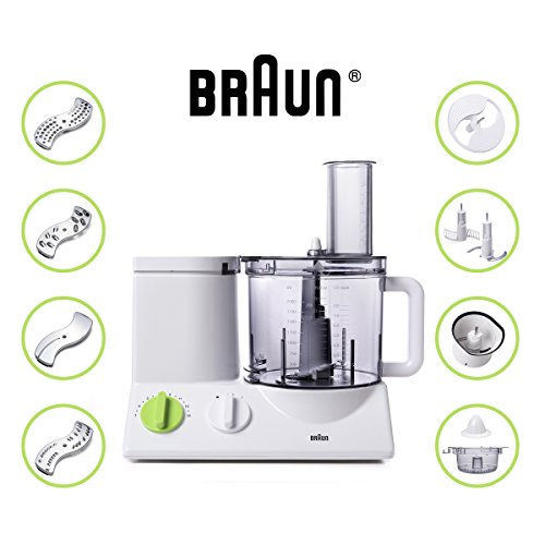 Braun 12 Cup Food Processor Ultra Quiet Powerful motor, includes 7 Attachment Blades + Chopper and Citrus Juicer , Made in Europe with German Engineering