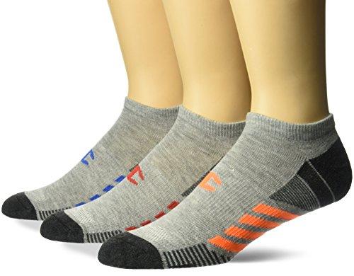 Champion Men's No Show Training Socks 3-Pack, Grey/Blue Assortment, 6-12