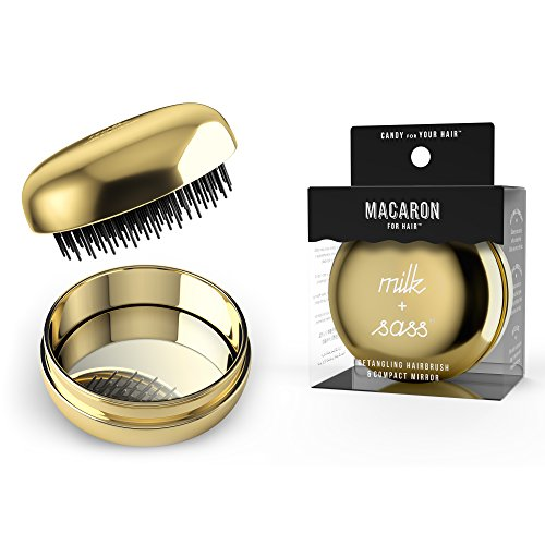 milk + sass MACARON FOR HAIR On-The-Go Detangling Hairbrush with Compact Mirror (Gold)