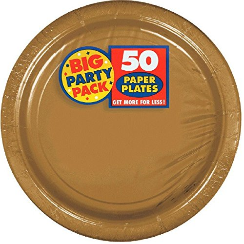 Amscan Big Party Pack 50 Count Paper Dessert Plates, 7-Inch, Gold