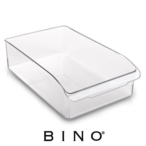BINO Refrigerator, Freezer and Pantry Cabinet Storage Drawer Organizer Bin, Clear and Transparent Plastic Nesting Container for Home and Kitchen with Built-In Pull Out Handle, X-Large
