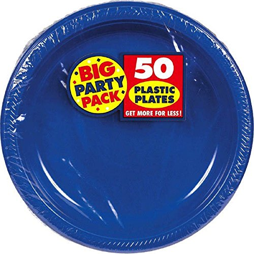 Big Party Pack Dessert Plates, 50 Pieces, Made from Plastic, Bright Royal Blue, 7-Inch by Amscan