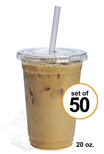20 oz. Plastic Cups With Flat Lids [50 Sets]