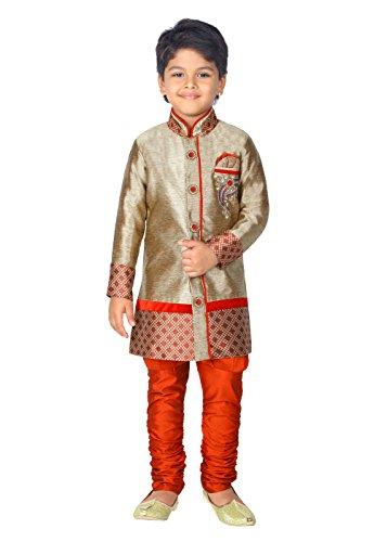 ahhaaaa Kids Ethnic Indian Festive and Party Wear Sherwani and Breeches Set for Boys (2-3 Years, Maroon)