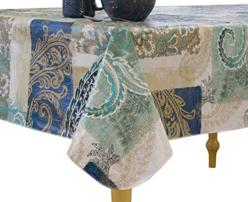 "Elrene Home Fashions Vinyl Tablecloth with Polyester Flannel Backing Paisley Scroll Easy Care Spillproof, 70"" Round, Taupe Blue Green"
