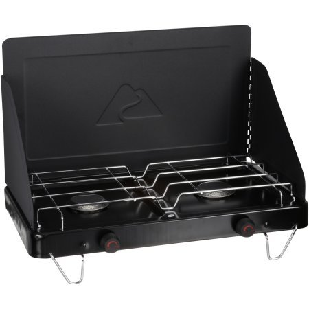 Versatile,Compact and Convenient Ozark Trail 2-Burner Camp Stove With Built in Wind Guards,Ideal for Use When Camping,Hiking,Hunting,Canoe Trip or Without Electricity