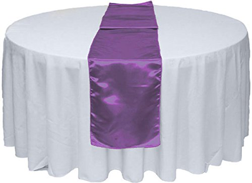 """20pcs 12"""" X 108"""" Satin Table Runner for Wedding Party Banquet Rectangular and Round Tablecloth by GW Home (20, Purple)"""