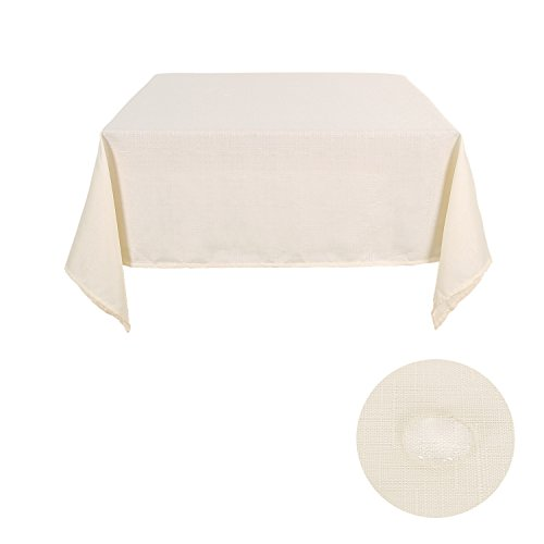 Deconovo Solid Faux Linen Table Cloth Water Resistant Table Cover Square Tablecloths Tablecloth for Parties 54W x 54L Inch Beige