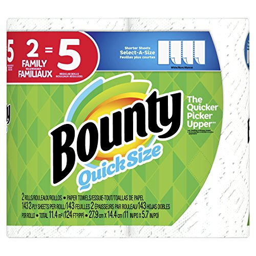 Bounty Select-A-Size Paper Towels, White, 2 Count = 5 Family Rolls