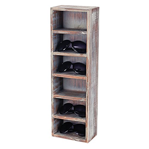 6-Slot Rustic Wooden Wall Mounted Vertical Storage Sunglasses Display Case Stand
