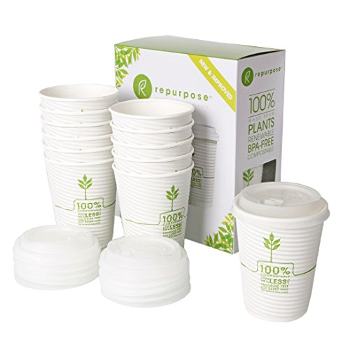 Repurpose 100% Compostable Plant-Based Insulated Hot Cup and Lid Set, 12 ounce, 12 count (Pack of 12)
