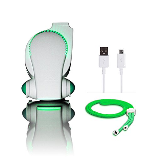 Portable Baby Stroller Fan with LED Lights - Cool on the Go Clip On Fan - Versatile Hands-free Personal Cooling Device / Compact USB Fan - Bladeless Desk Fan White/ Green