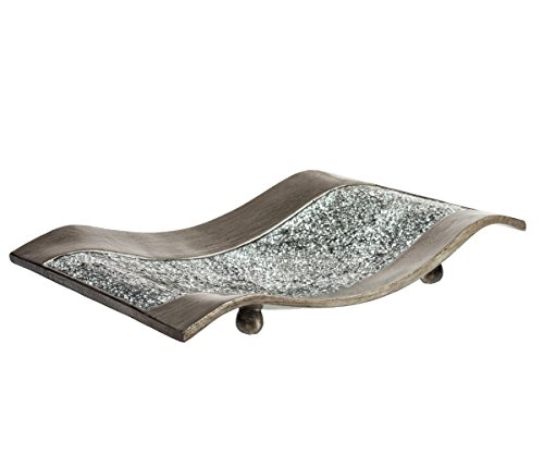 Creative Scents Schonwerk Centerpiece Dish- Crackled Mosaic Design- Functional Table Decorations- Centerpieces for Dining/Living Room/Bedroom Decor - Best Wedding/Anniversary Gift (Silver)