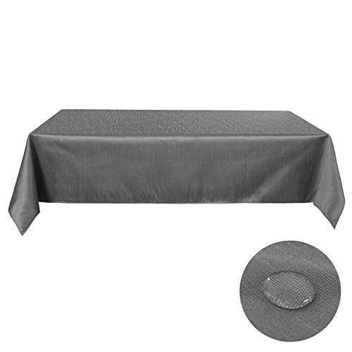 Deconovo Decorative Oblonge Tablecloth Water Risestant Table Cloth Solid Color Slub Table Cloth for Rectangle Tables 54W x 72L Inch Silver Grey