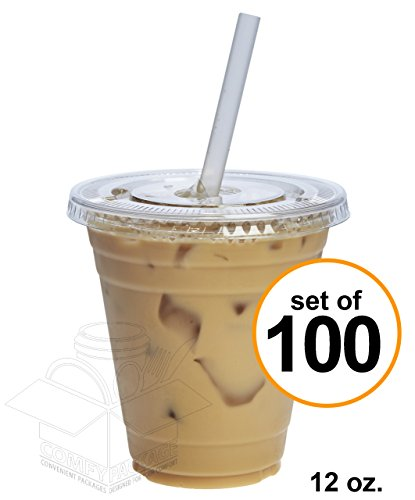 COMFY PACKAGE 100 Sets 12 oz. Plastic CRYSTAL CLEAR Cups with Flat Lids for Cold Drinks, Iced Coffee, Bubble Boba, Tea, Smoothie etc.