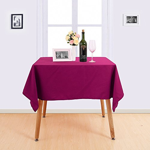 Deconovo Solid Tablecloth Oxford Water Resistant Table Cover Oblonge Tablecloth for Kitchen 54x54 Inch Fuchsia