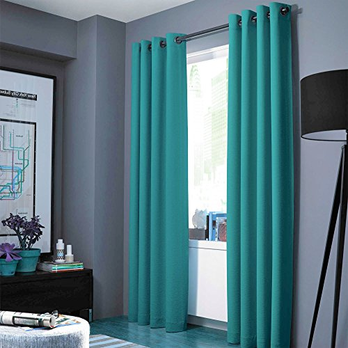 "Midwest (WC86) Different Colors and Sizes1 Panel Drape Window Treatment Curtain Thermal Insulated White Coating Blackout Antique Grommets Solid Color (84"" STANDARD, TEAL)"