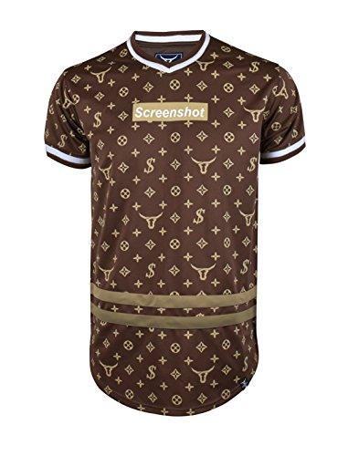 SCREENSHOT SCREENSHOTBRAND- Mens Hipster Hip-Hop Premium Tees - Stylish Longline Fashion Jersey T-Shirt Logo Pattern - Dark Brown - 2XLarge