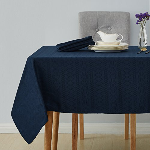 Deconovo Decorative Jacquard Square Tablecloth Wrinkle and Water Resistant Spill-Proof Tablecloths with Diamond Patterns for Outdoor Picnic 60 x 60 inch Navy Blue
