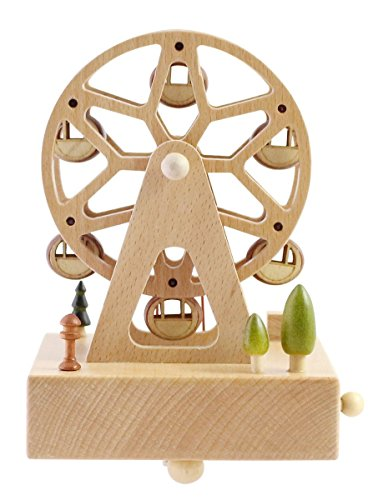 """Cute Quality Made Wooden Musical Box Featuring Ferris Wheel With Small Swinging Cabins 