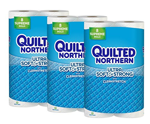 Quilted Northern Ultra Soft & Strong Supreme Toilet Paper with CleanStretch, 24 Supreme Rolls (Three 8-Roll Packages), Equivalent to 92+ Regular Rolls-Packaging May Vary