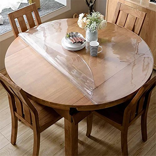 OstepDecor Custom 2mm Thick Crystal Clear Table Top Protector Plastic Tablecloth Kitchen Dining Room Wood Furniture Protective Cover Pad | Round 45 Inches (Dia. 114.3cm)