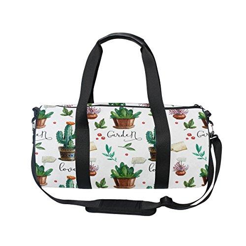 ALAZA Summer Cactus Watercolor Travel Duffel Bag Sport Gym Luggage Bag for Men Women