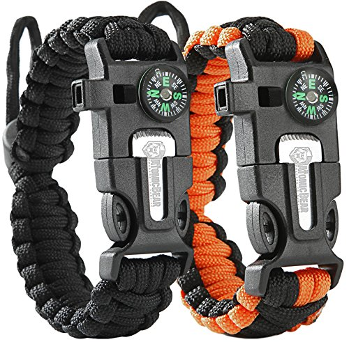 Paracord Bracelet (2 pack) – Tactical and Survival Gear Kit – Adjustable Size – Fire Starter – Loud Whistle – Emergency Knife – Perfect for Hiking, Camping, Fishing and Hunting – Black & Black+Orange