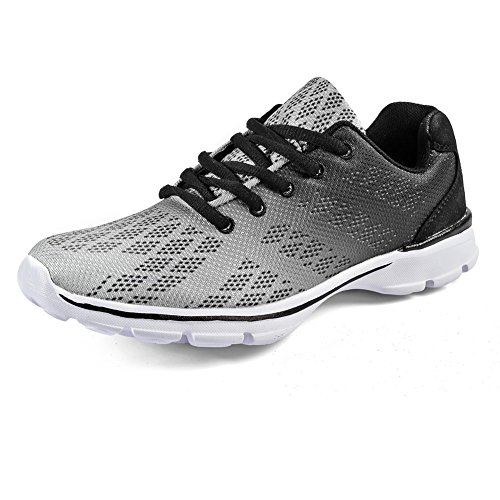 QANSI Mens and Boys Breathable Mesh Cross Trainer Bowling Shoes Sports Running Casual Sneakers Grey 6.5 M US