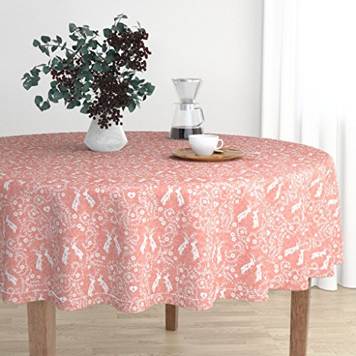 Roostery Round Tablecloth - Peach Folk Love Heart Bunny Swedish Girl by Nouveau Bohemian - Cotton Sateen Tablecloth 70in