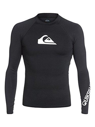 Quiksilver Men's All Time Long Sleeve Surf Tee Rashguard, Black, Large