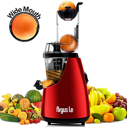 """Argus Le 3"""" Big Mouth Whole Slow Masticating Juicer with Quiet Motor, Low Speed Cold Press Juice Extractor, 75mm Wide Chute Easy Cleaning Vertical Juicer Machine for High Nutrient Fruit and Veggies"""