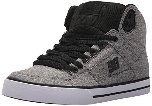 DC Men's Spartan High WC TX SE Skate Shoe, Black/Heather Grey, 10 D US