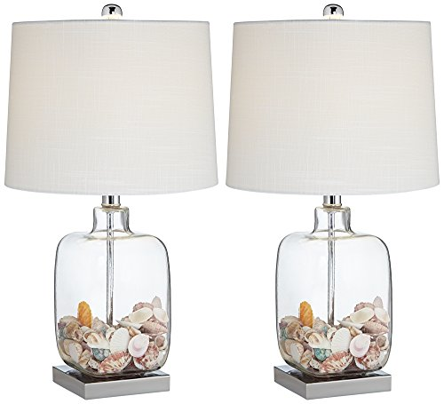 Square Glass Fillable Table Lamp Set of 2