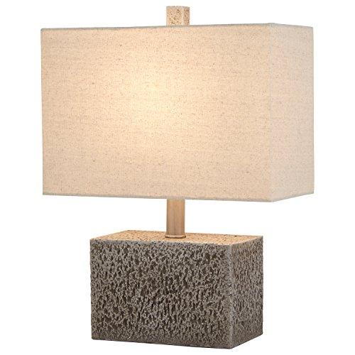 "Stone & Beam Modern Slate Rock Table Lamp, 16"" H, with Bulb, White Shade"