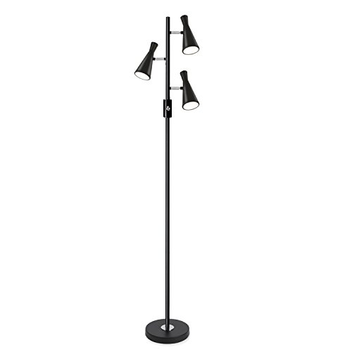 SUNLLIPE 3 Lights Floor Lamp 15W LED Tree Standing Lamp for Living Rooms and Bedrooms - 60.5 inches Tall (Conical-Shaped)