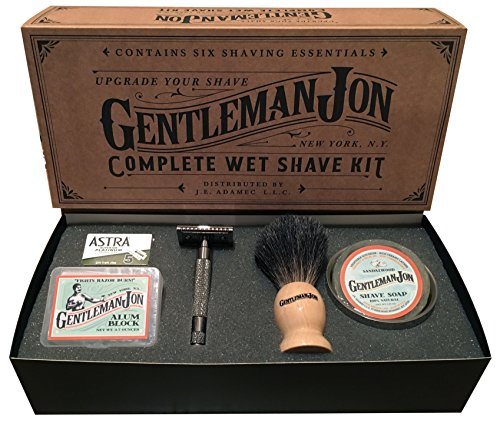 Gentleman Jon Complete Wet Shave Kit   Includes 6 Items: One Safety Razor, One Badger Hair Brush, One Alum Block, One Shave Soap, One Stainless Steel Bowl and Five Razor Blades