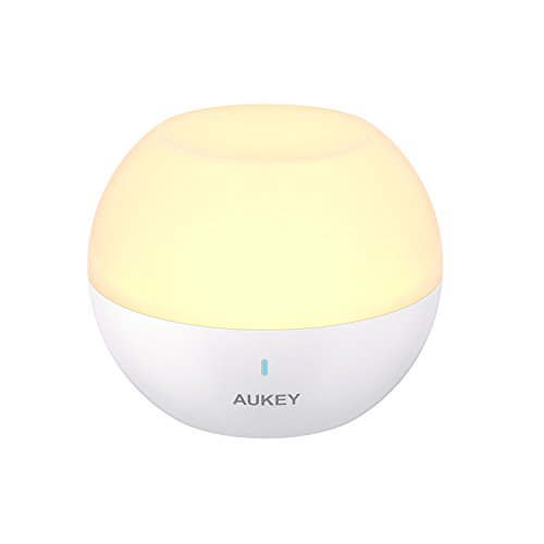 AUKEY Night Light for Kids, Rechargeable Baby Bedside Lamp, IP65 Water-Resistant & Drop-Resistant, Mini Portable Table Lamp with RGB Color-Changing & Dimmable White Light