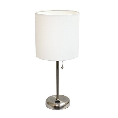 Limelights Brushed Steel Lamp with Charging Outlet and Fabric Shade, White