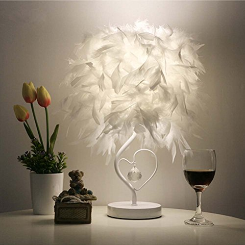 Surpars House Heart Shape White Feather Deco Table Lamp Crystal Bedside Table Lamp
