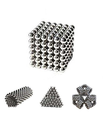 216 magic Balls Sculpture Toy - 216 Pieces 3mm Large Size - Includes Carrying Bag and Plastic Card Separator - (3mm, Silver)