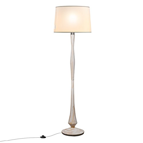 Tomons Simple Scandinavian Style White Washed Wood Floor Lamp White