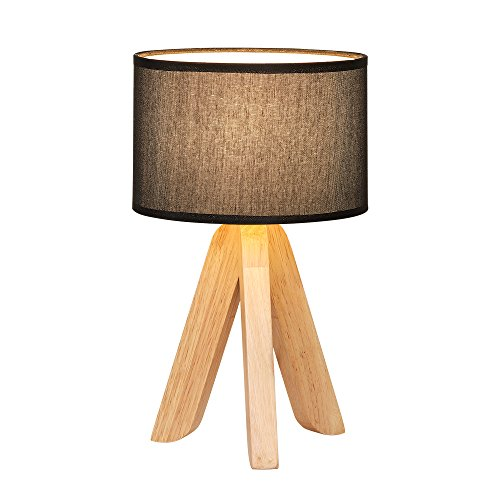HAITRAL Creative Table Lamp with Triangle Wooden Support Black Flax Shade, Fashion Desk Lamp for Home Office