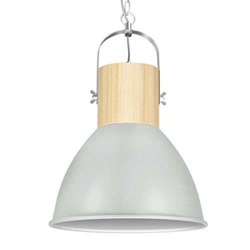 "Tomons Pendant Lighting Plug In Gray Metal Pendant Lamp, Modern Simple Pendant Lantern Wood Dome-shaped for Kitchen, Restaurants, Cafeteria, Bars, with 29.5cm (11.61"") Diameter"