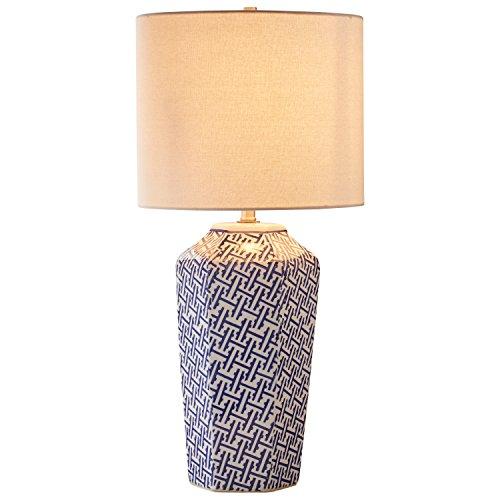 "Stone & Beam Geo Pattern Ceramic Lamp with Bulb, 26"" H, Blue and White"
